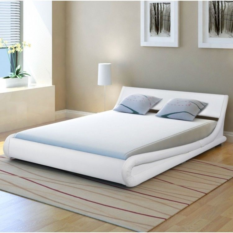 Leather White Double Bed Frame Curved Modern Bedstead Home Guest ...