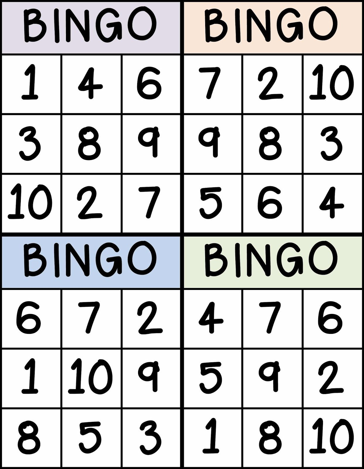 Bingo for Numbers 1-10. Great for preschool number identification ...