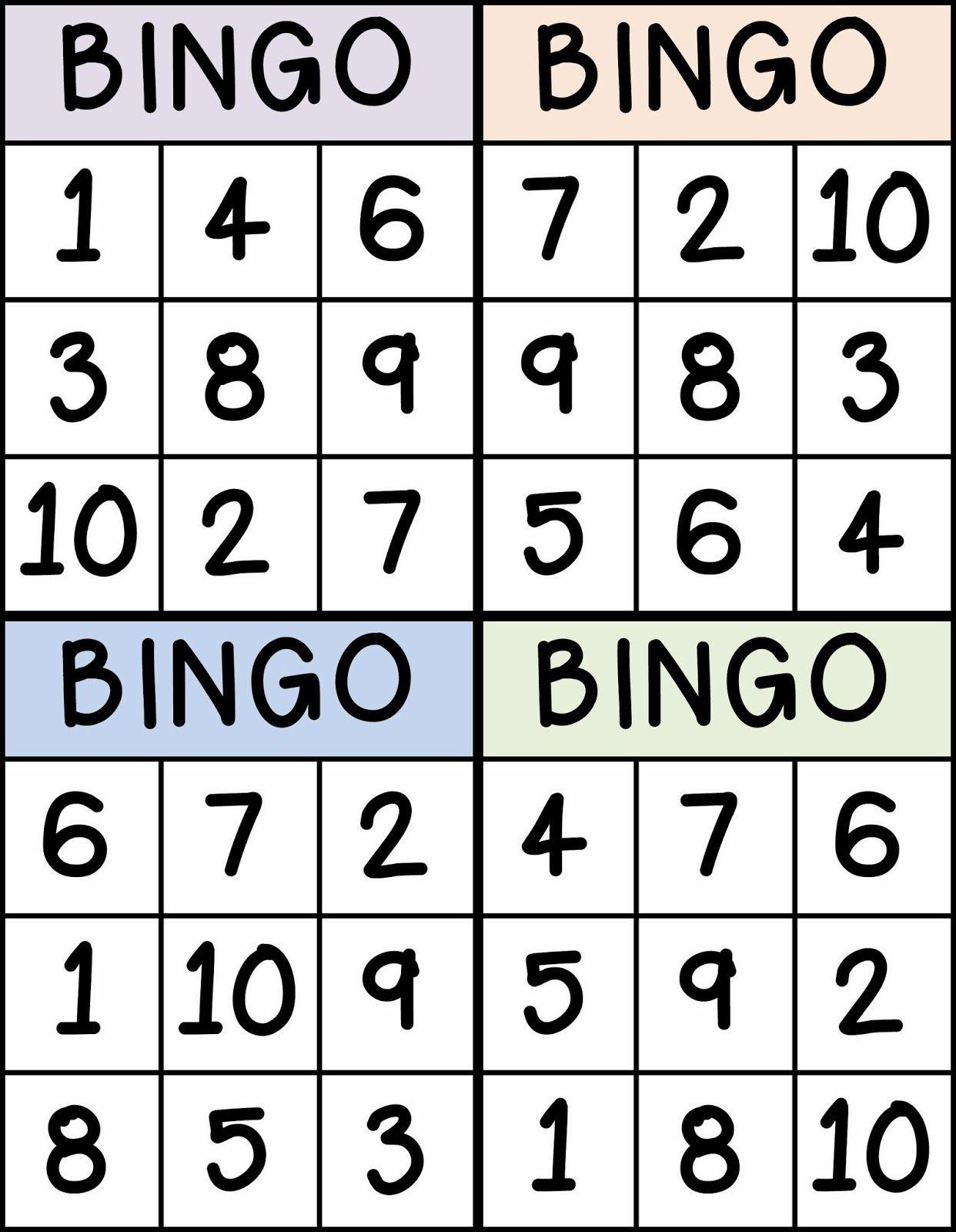 Bingo For Numbers 1 10 Great For Preschool Number