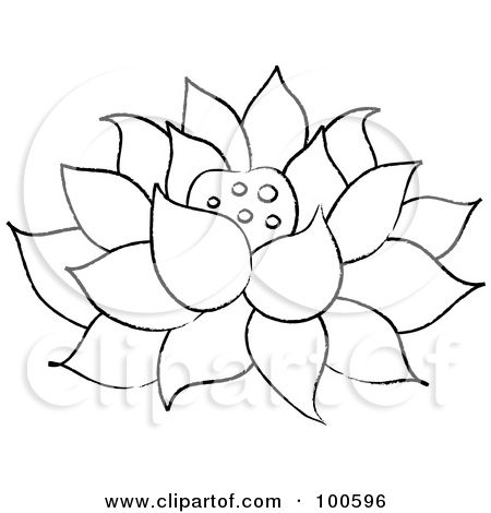 coloring page outline of a lotus flower fully bloomed - Lotus Flower Coloring Page