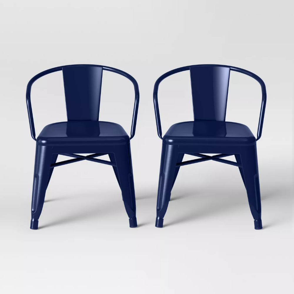 Set of 2 Kids' Industrial Activity Chair Navy - Pillowfort