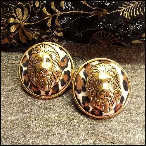 Lion Earrings Modern Gold W Leopard Print Pierced Vintage