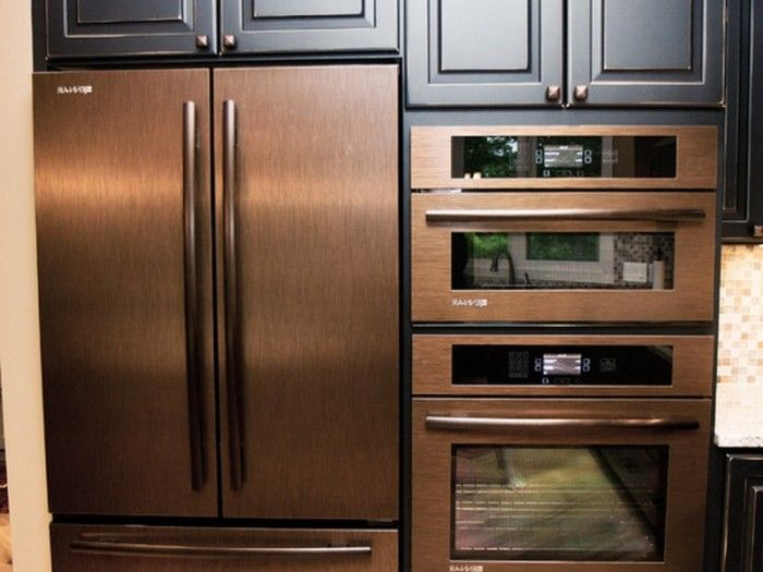 Copper Refrigerator Wall Oven And Wall Microwave Copper Kitchen