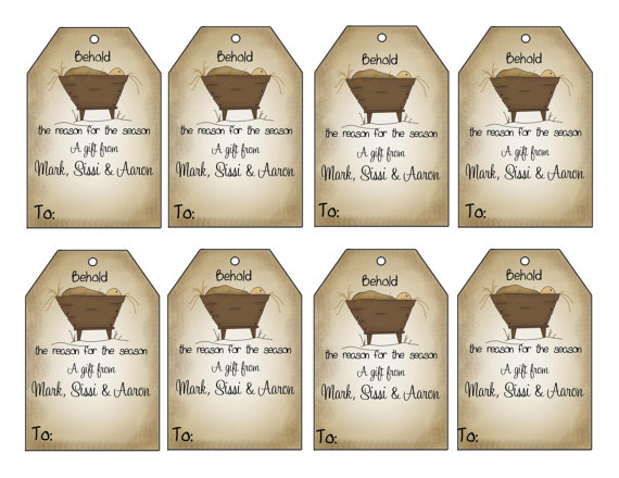 16 printed personalized behold the reason for the season gift tags christ in the manger gift tags personalized gift tags by swell printing