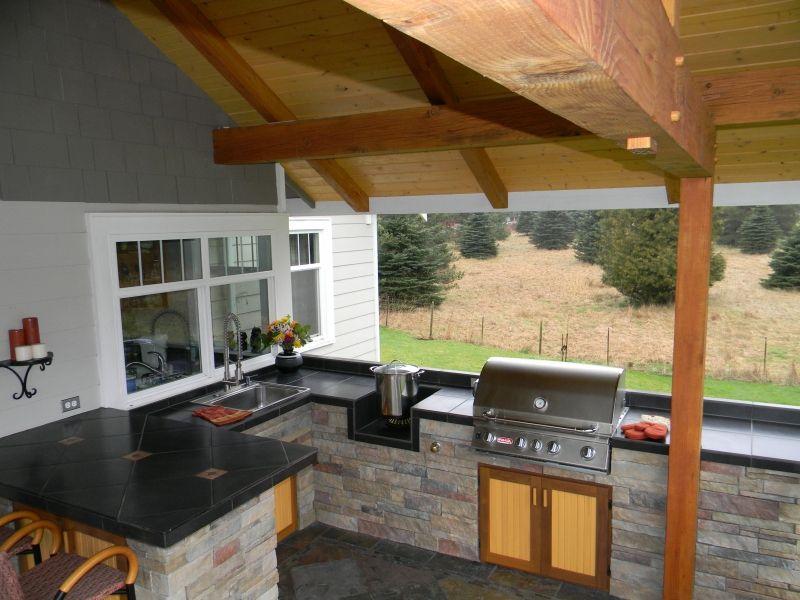 built in turkey fryer in outdoor kitchens outdoor kitchens by mark palmer bellingham - Outdoor Deep Fryer