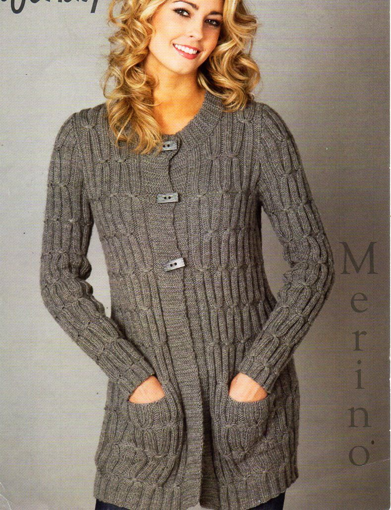 108b40bf4cb09 ladies long line cable cardigan knitting pattern PDF DK womens long jacket  round neck 32-42