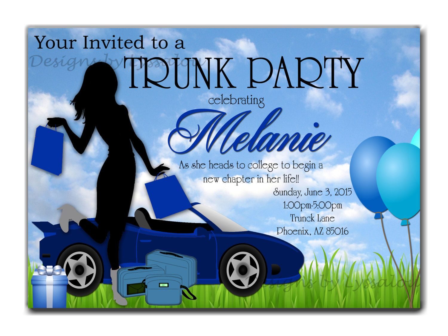 College Trunk Party Invitation Wording