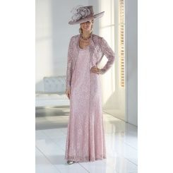 b4fddb7116 Florentyna Dawn Dusky Pink Long Lace Gabriella Dress with Matching Lace  Scallop Edged Jacket