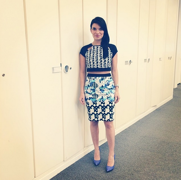 Beauty editor @Carly Cardellino killing it in Peter Pilotto for Target and sparkly magical Rachel Roy heels �