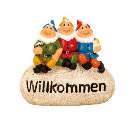3 Gartenzwerge Willkommen Stein Gartendeko Dekoration Figur - moderne skulpturen wohnzimmer