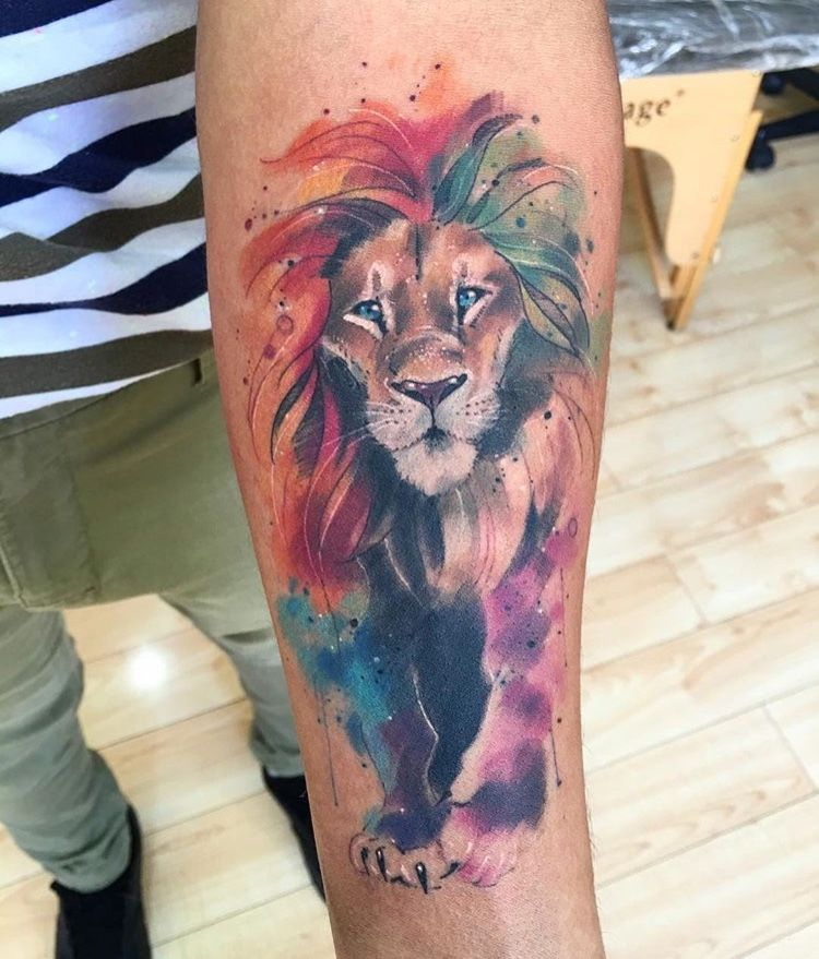 Hombre Tatuaje Leon Acuarela