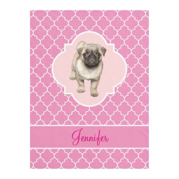 Cute Pug Puppy Pink Quatrefoil with Name Fleece Blanket | Zazzle.com #cutepugpuppies