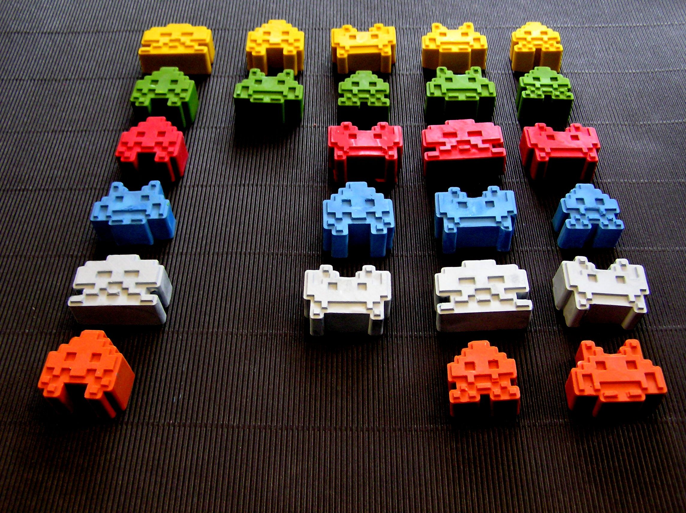 Space Invader crayons from www.felt.co.nz/shop/crazycrayons