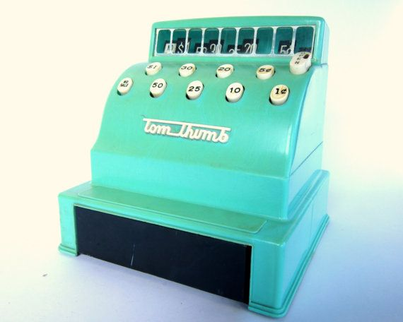 Vintage aqua tom thumb cash register 1960s toy playroom nursery decor 1960s toys and childhood for Cash decor mougins