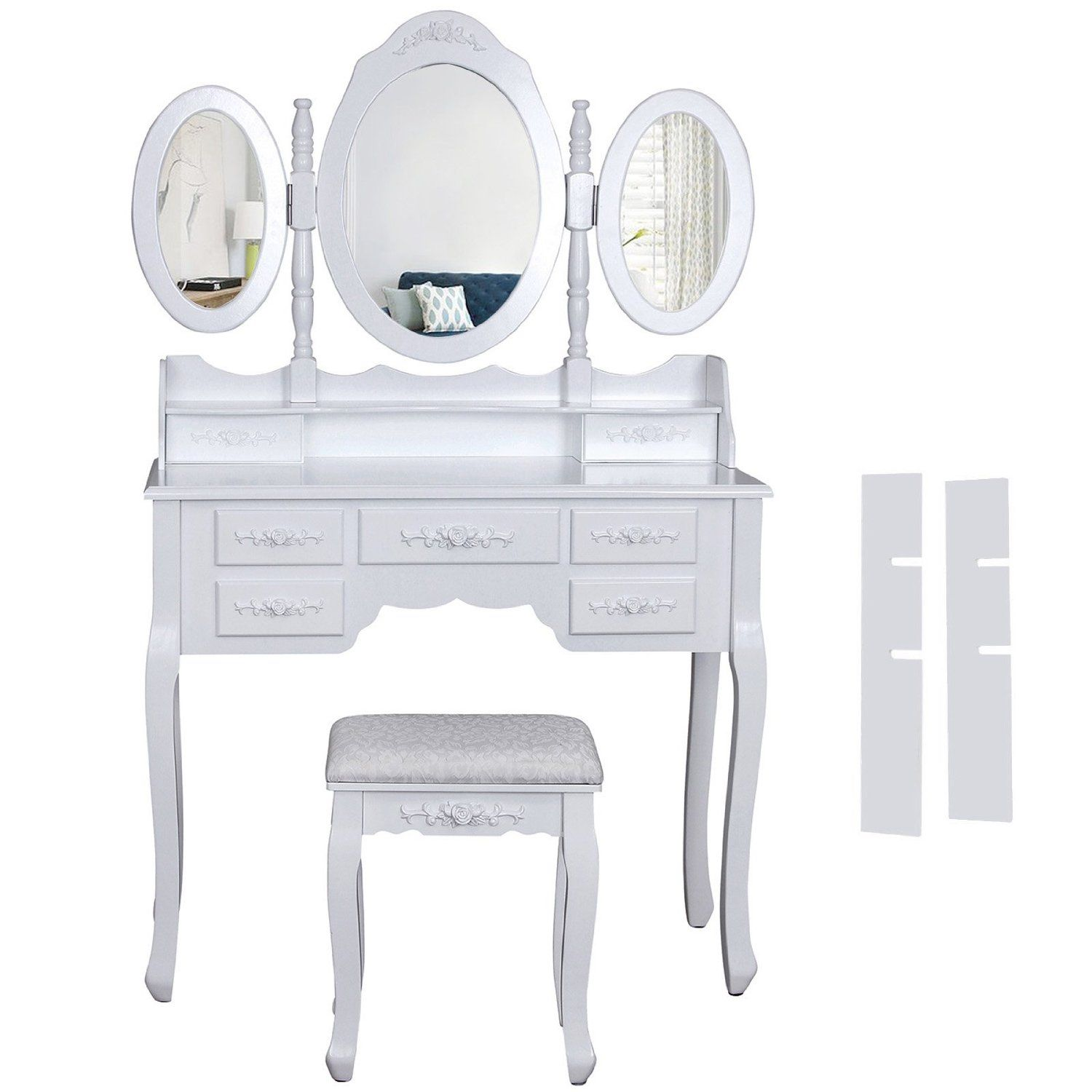Songmics Wall-Fixed Luxurious 3 mirrors Dressing Table Set with ...