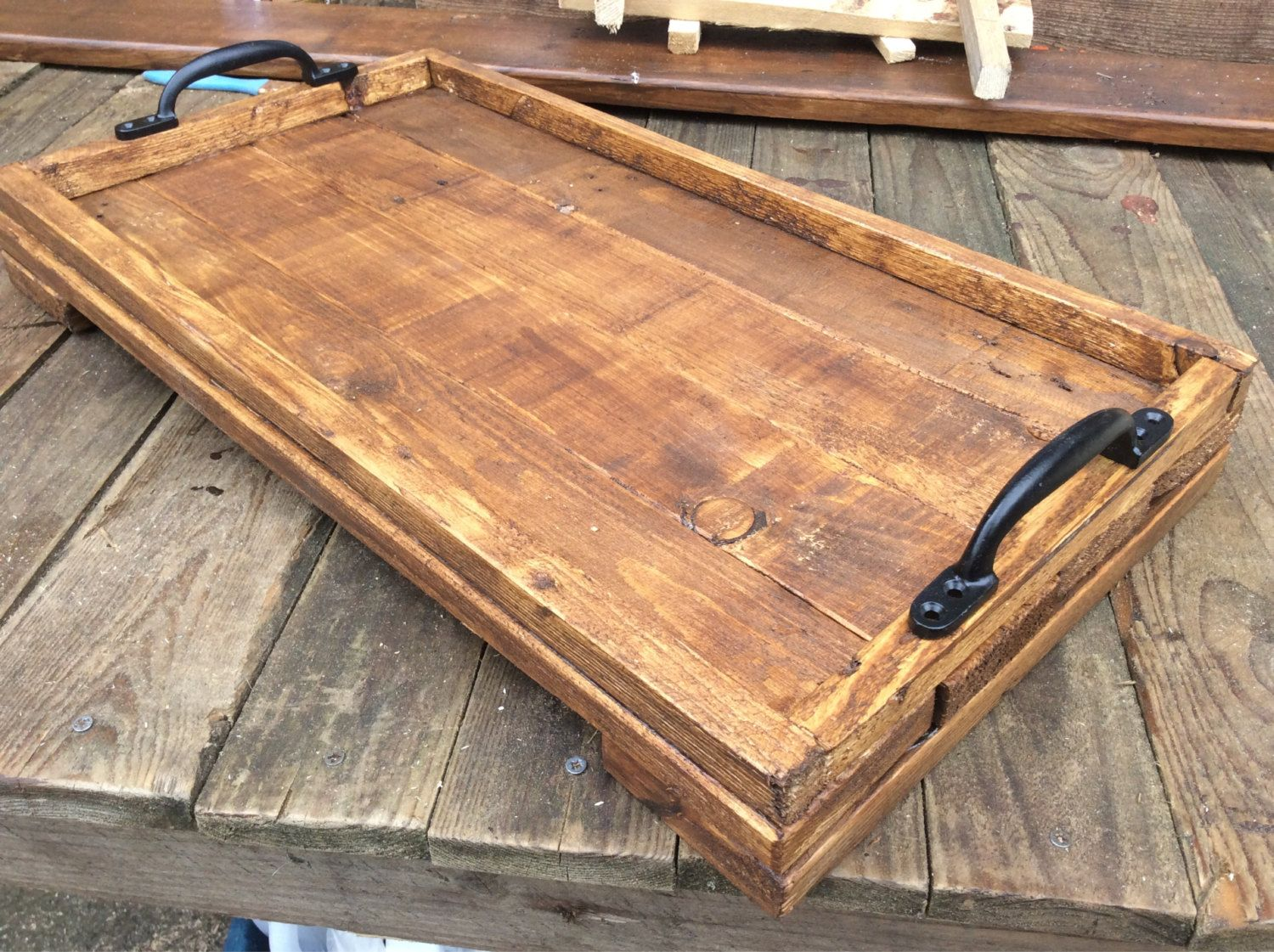 Rustic Wooden Serving Tray made from reclaimed by PalletGenesis ...
