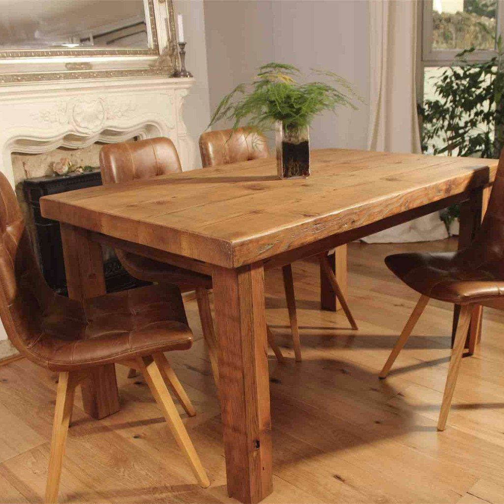 English Beam Rustic Extendable Reclaimed Wood Dining Table Medium