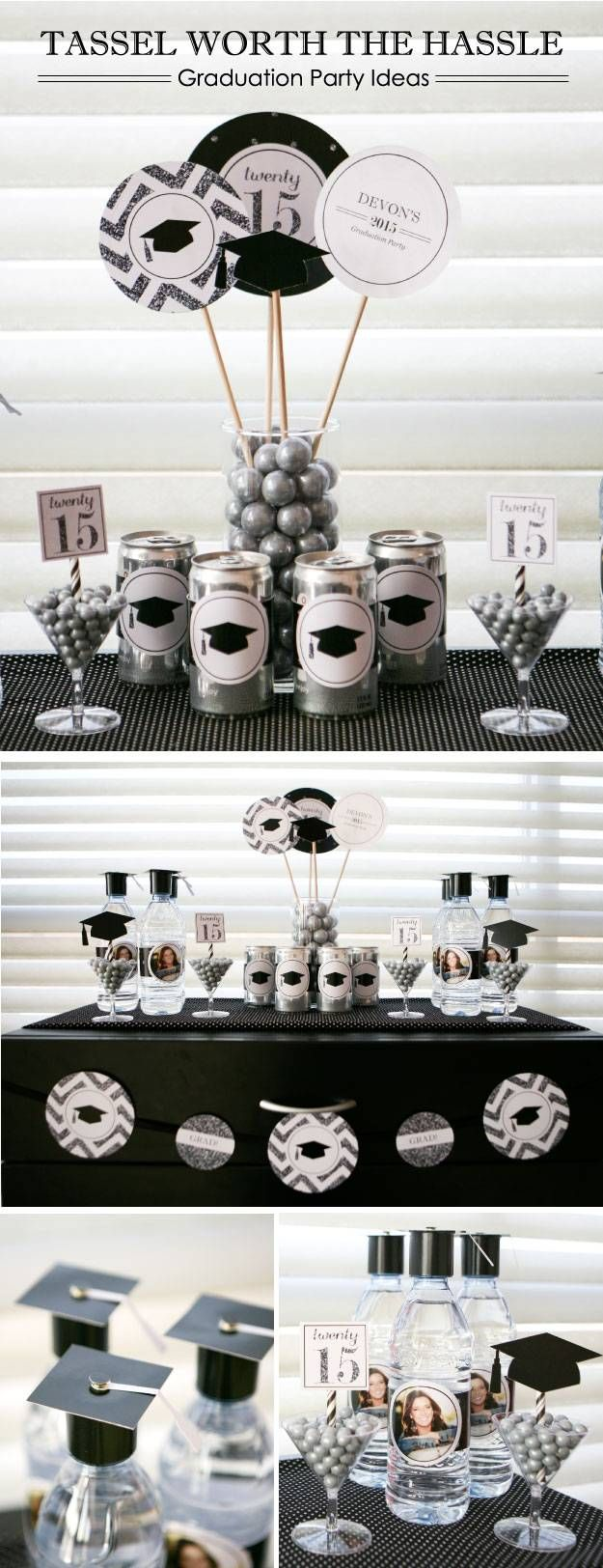 Tassle Worth the Hassle Graduation Party Theme - Black and White Party Supplies with Glitter Accents