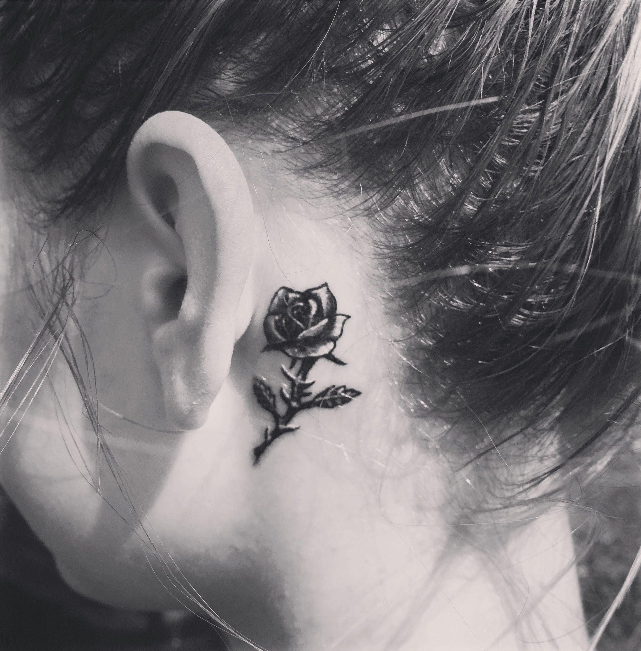 #tattoo#rose#smalltattoo   Neck tattoo, Neck tattoos women, Behind ear tattoo