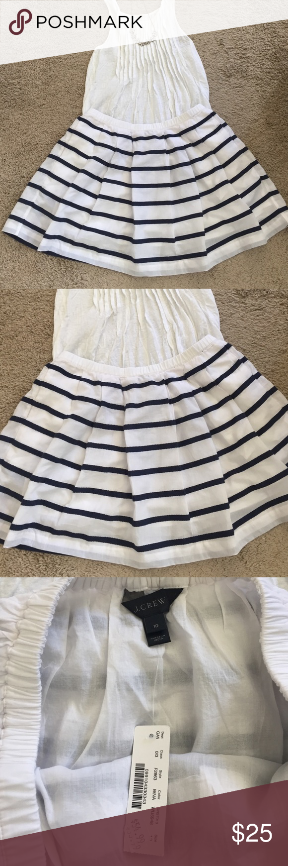 """J. Crew Blue and White Stripped Skirt NWT J.Crew White and Blue Stripped Skirt with light cotton lining, elastic waist and pockets!                                             100% Cotton Skirt with 100% Cotton Lining                Waist 31"""" Length 15 1/2"""" J. Crew Skirts Mini"""