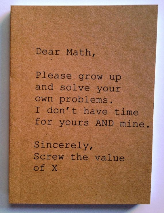 Notebook  Dear Math Sincerely Screw the value of X by anroldesigns, $5.00