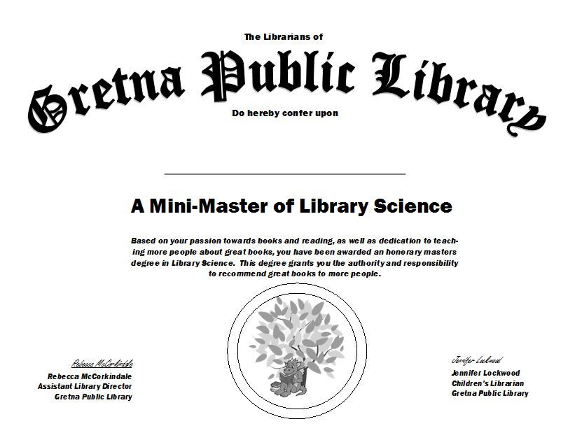 Our Mock Up Of The Mini Masters Of Library Science Certificate For