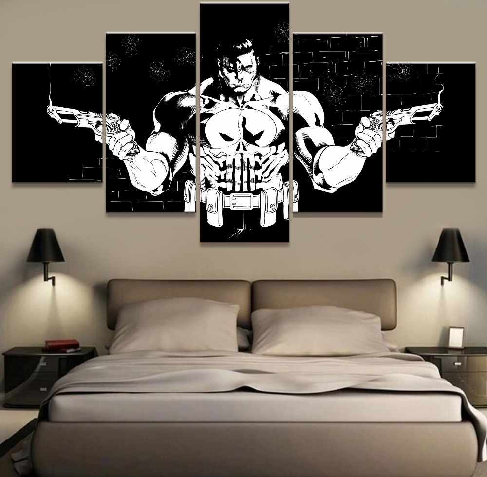 5 Piece Modular Home Decor Wall Art Punisher Cuadros Decoracion Paintings On Canvas Wall Art For Home Decorations Home Decor Wall Art Home Art Canvas Painting