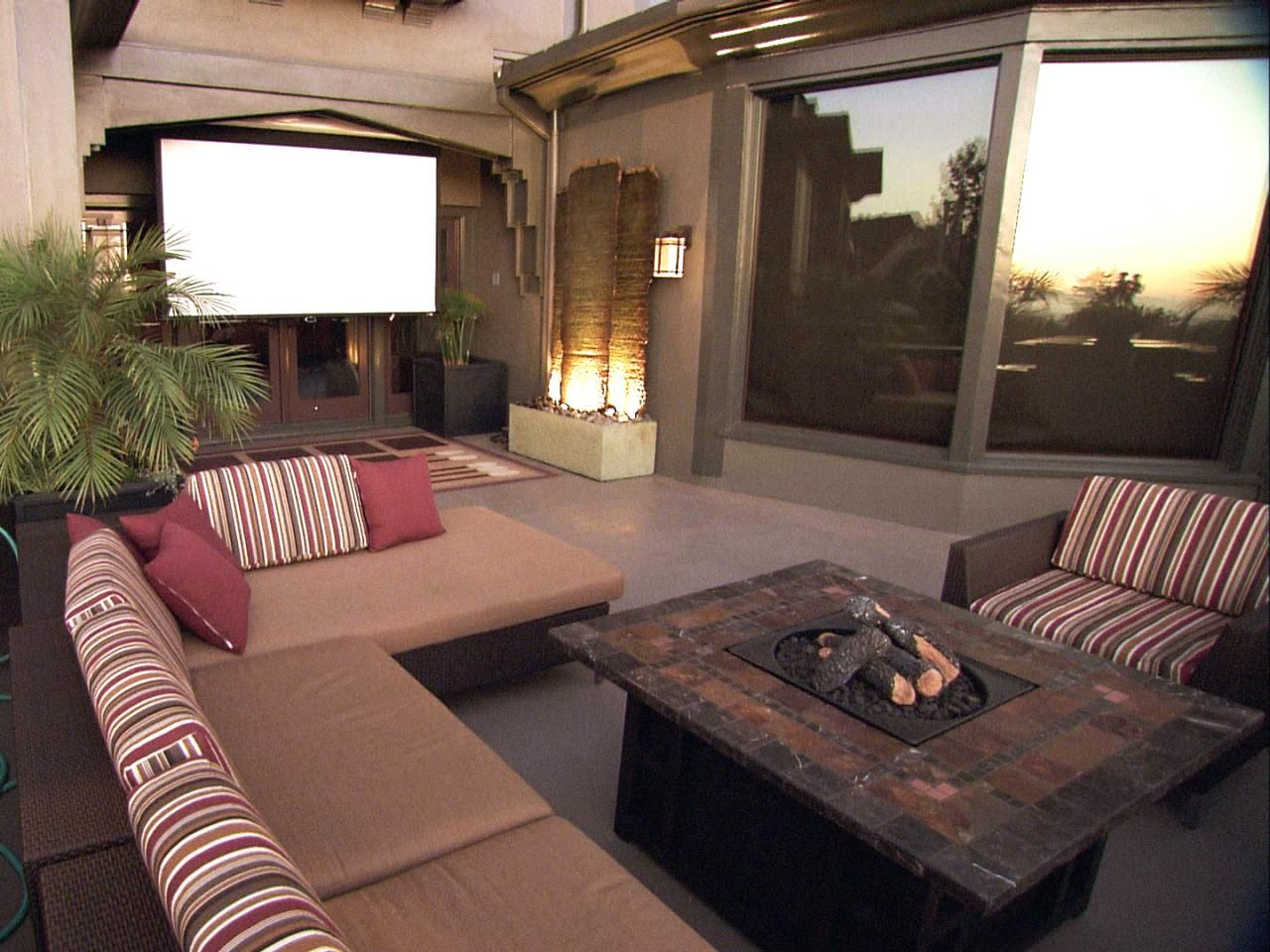 Patio Ideas | Fire pit table, Water features and Spaces