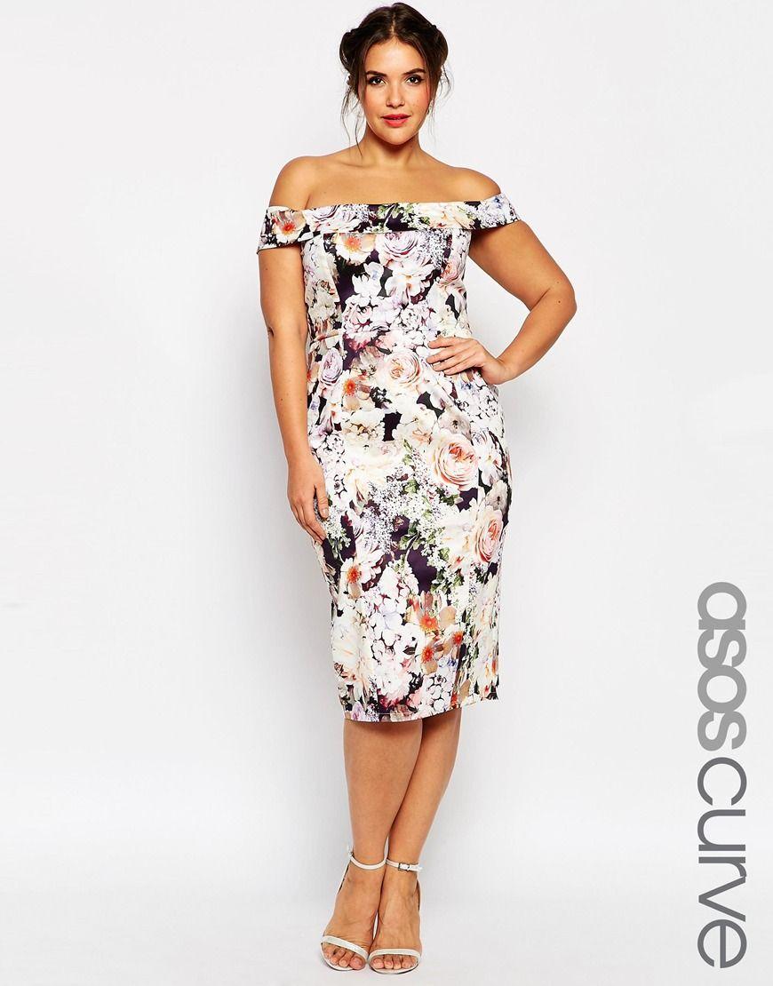 ASOS CURVE WEDDING Bardot Floral f Shoulder Pencil Dress