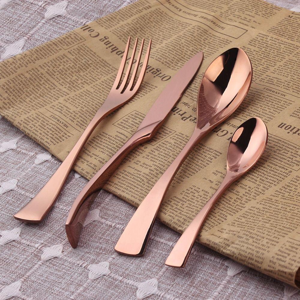 d0145ead5f7 Barato 18 10 Talheres de Aço Inoxidável Rosa de Ouro Conjunto de Talheres  Set Jantar