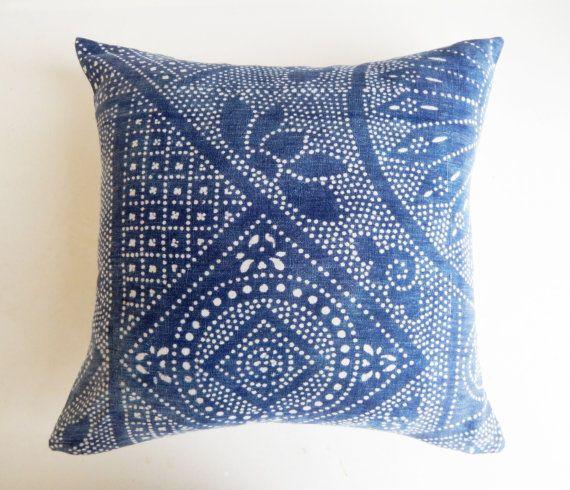24X24 Pillow Insert Chinese Batik Pillow Cover Indigo Batikhabitationboheme