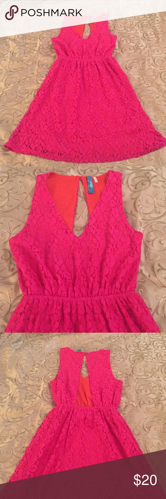 Hot pink and orange dress  Francescaus Hot pink u orange aline lined dress  Hot pink Minis