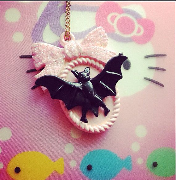 Pastel cameo necklace pendant bat pink jewelry by KagomeCharm, $8.00