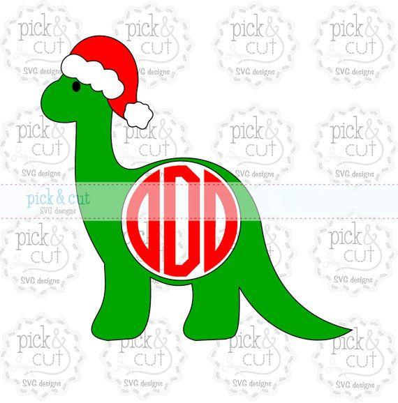 Christmas Dinosaur Monogram SVG DXF EPS by PickandCut on Etsy