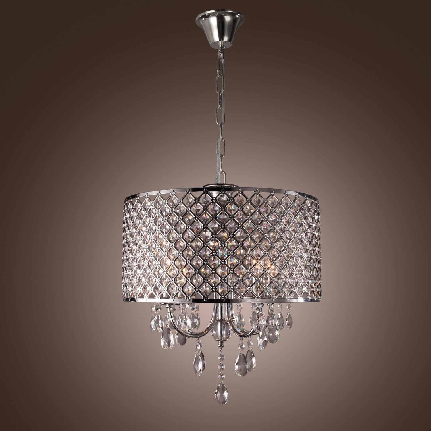 Y L C2 Ae60w Traditional Crystal Chrome Metal Chandeliers Flush Mount Pendant Light Fixture For L Chandelier In Living Room Metal Chandelier Metal Living Room
