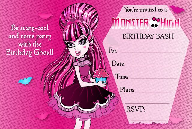 Alana Lee Designs Custom Photo Products With Personality Free Monster High Invitations