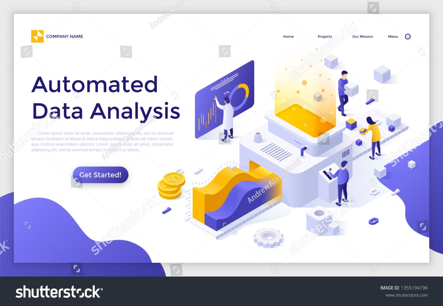 Landing Page With People Or Analysts Working On Conveyor And Place