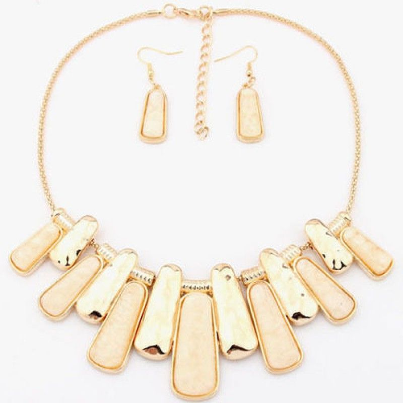 Magnificently Modern Necklace and Earring Set - Ivory