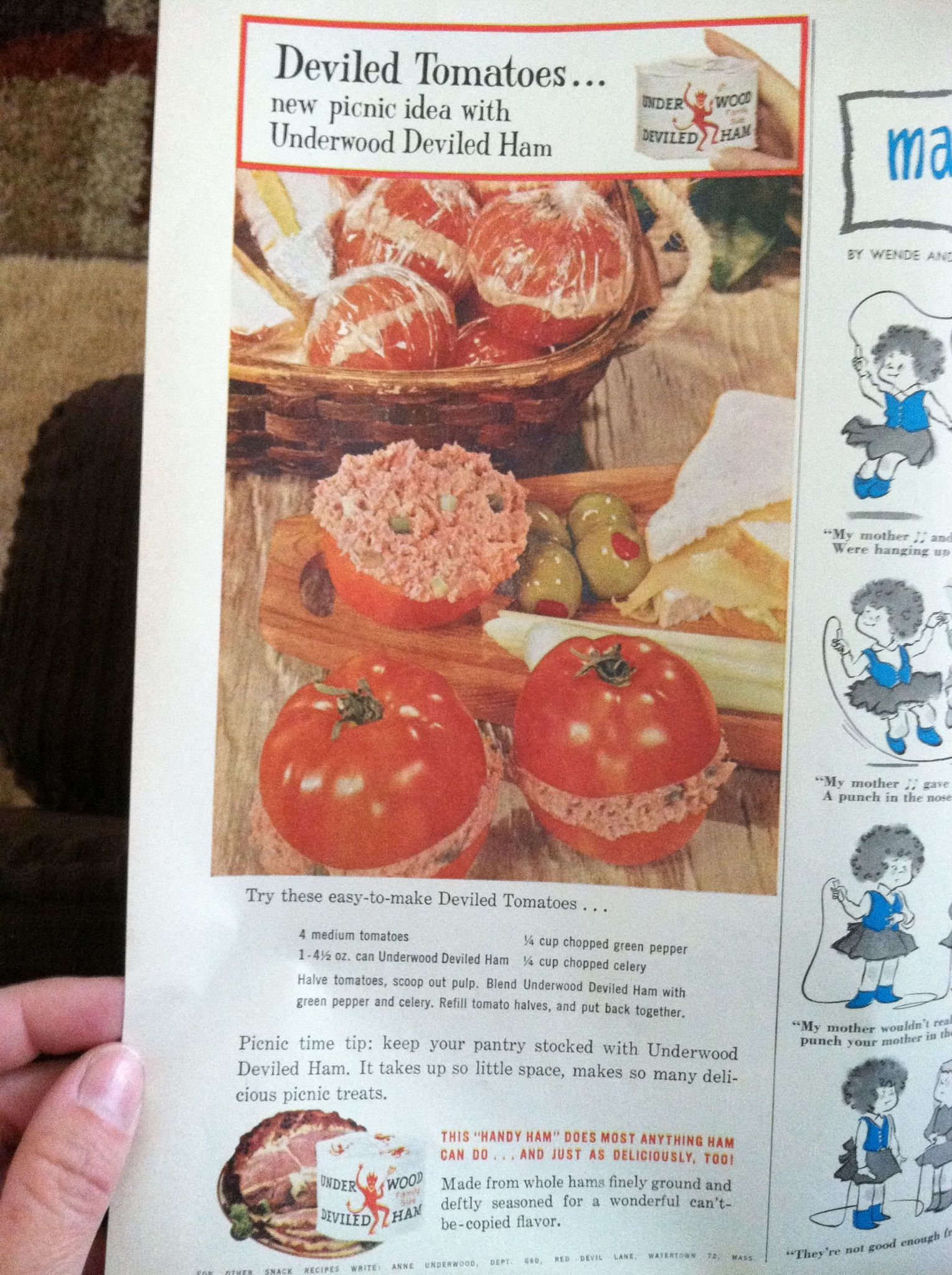 From 1950 S Good House Keeping Magazine Underwood Deviled Ham Ad W Recipe Stuffed Green Peppers Stuffed Peppers Ham