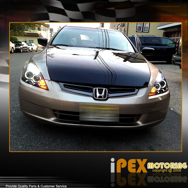 2003 2007 Honda Accord 2Dr Coupe/4Dr Sedan Halo Projector LED Headlights  Black