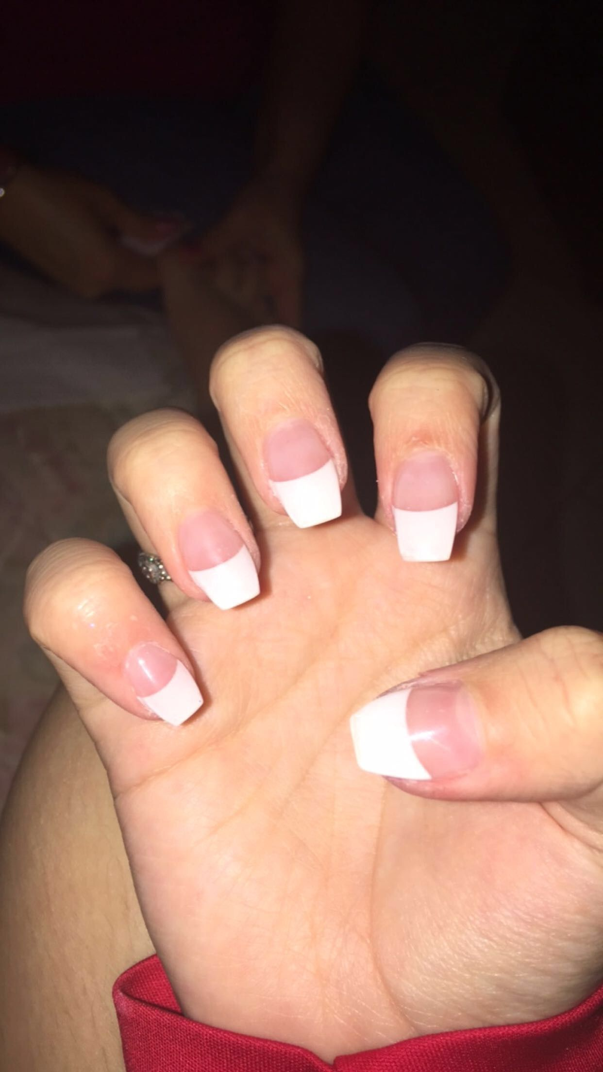 Coffin nails with French tip   nails   Pinterest