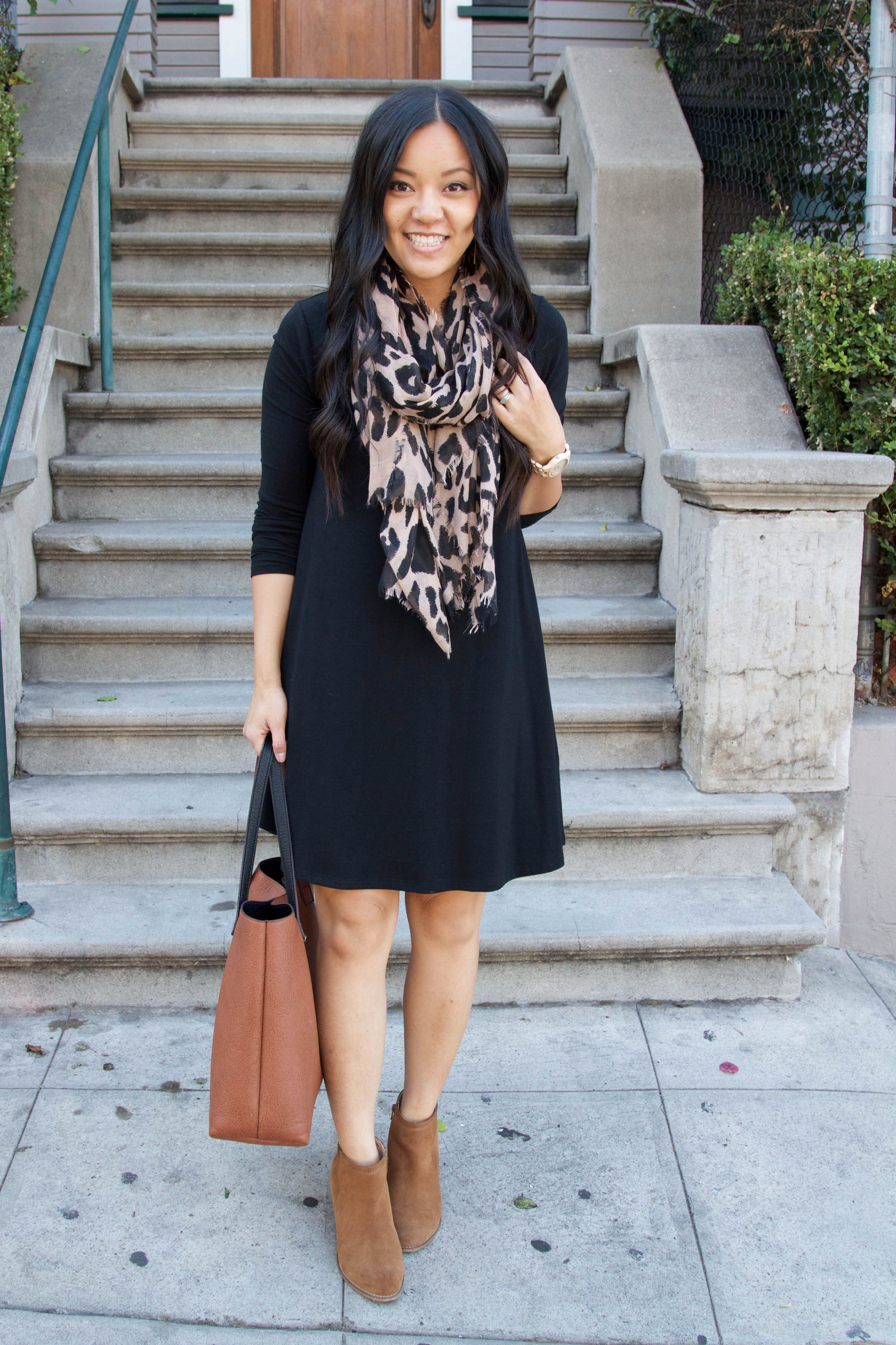 8c4c1fc4e1c10 I think I'd do leggings and boots. Black Swing Dress Thanksgiving Outfit