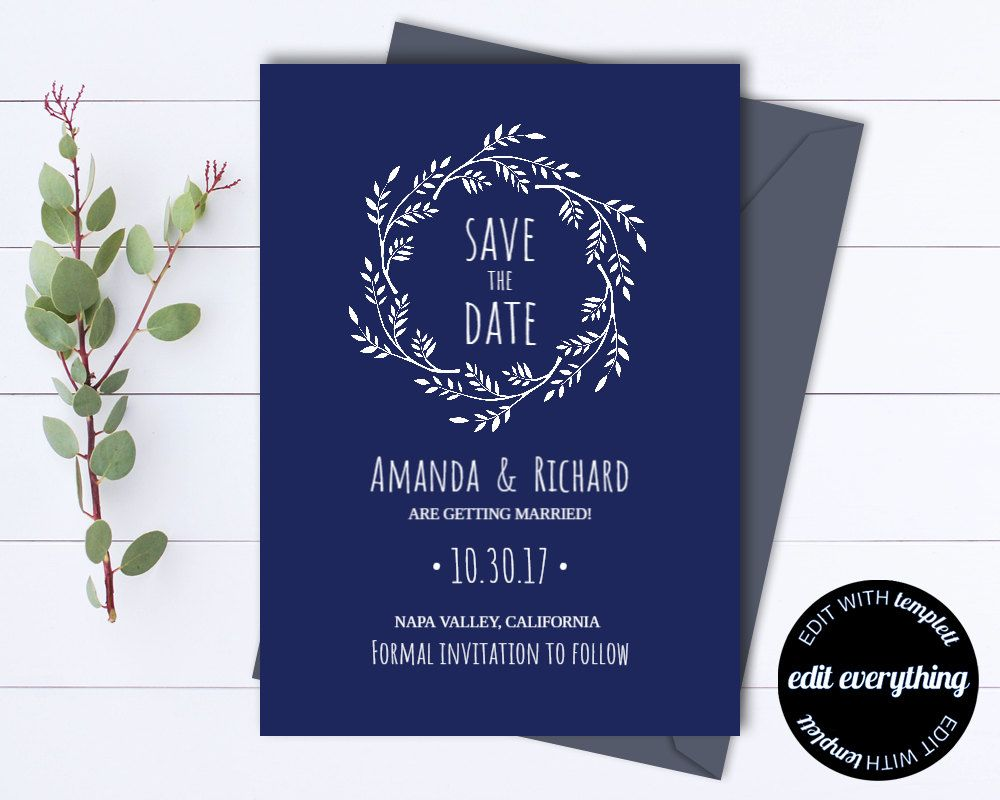 Navy Blue Save The Date Wedding Template  Wreath Save The Date