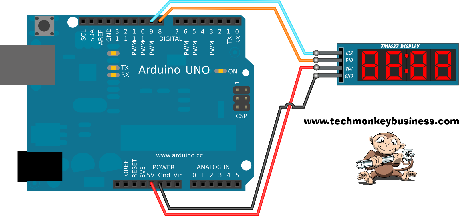 Tm digit display simple connections to the arduino