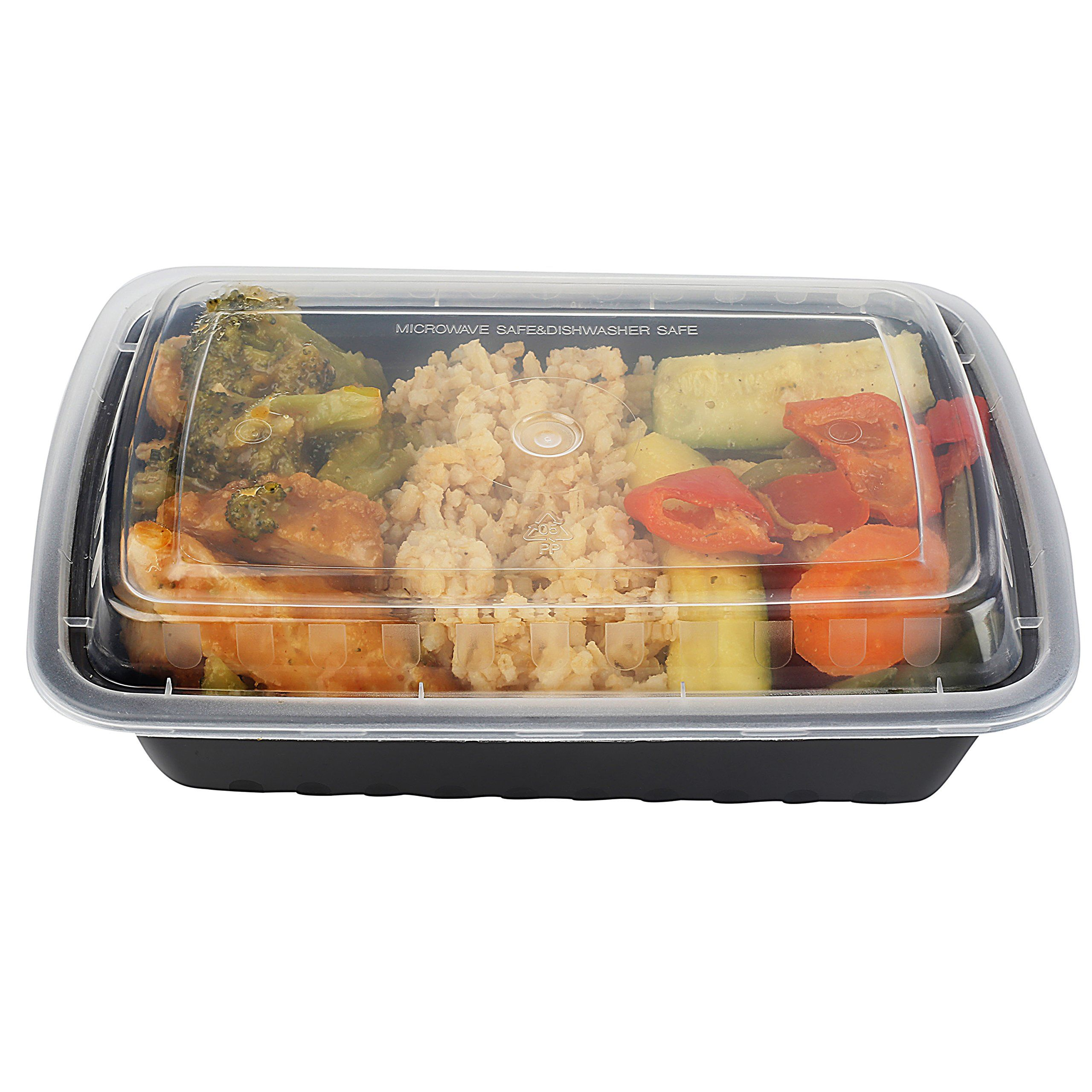 50pack Meal Prep Plastic Microwavable Food Containers For Meal