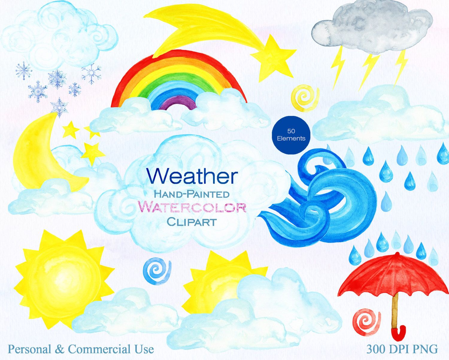 Watercolor Weather Clipart For Commercial Use Cute Weather