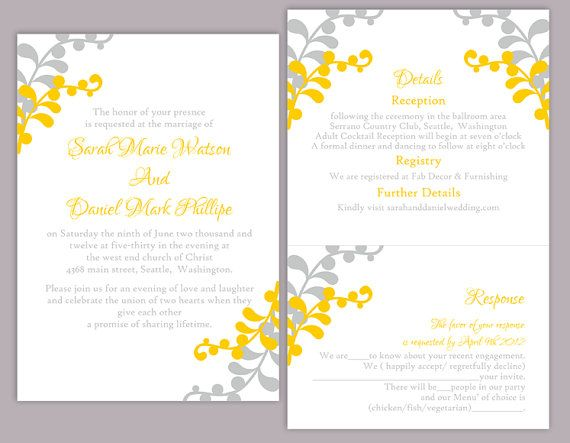 Wedding Invitation Template Download Printable Wedding Etsy Yellow Wedding Invitations Diy Wedding Invitations Templates Instant Download Wedding Invitations