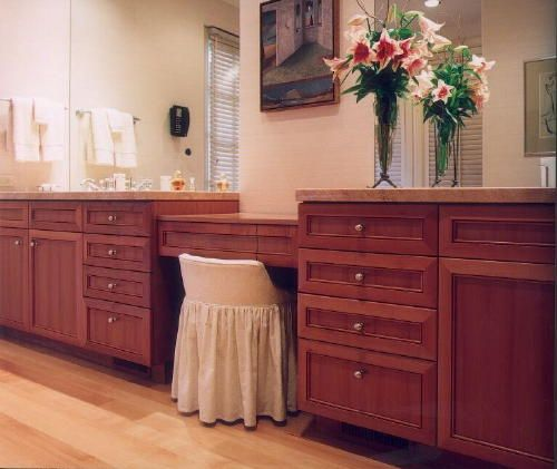 Extra Long Bathroom Vanity With Builtin Makeup Station Bench