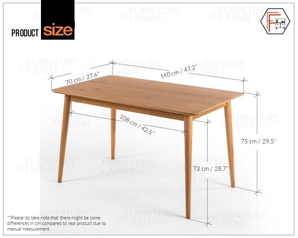 F F 140x70 Cm Zinus Fully Rubber Wood Dining Table Lazada