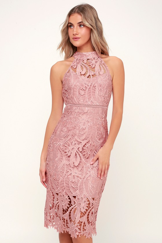 9b364852c82b The Bardot Isla Pink Lace Halter Midi Dress calls for cocktails at sunset!  Stunning pierced embroidery creates a lace-like overlay across a halter  neckline, ...
